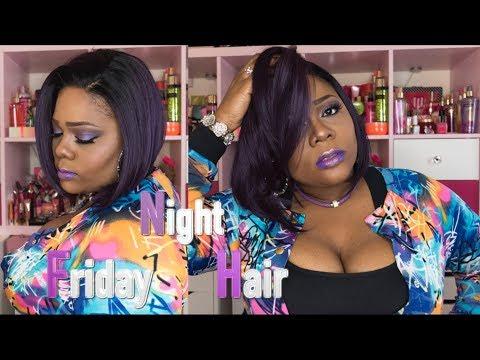 🤤😲 Purple Slayage!! FNH GLS51 TTPUR Wig review | ft. Fridaynighthair.com