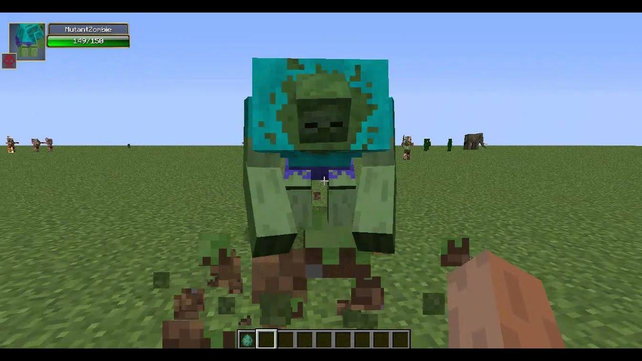 Minecraft:Обзор Мода (Зомби-Халк) Мутант 1 - YouTube
