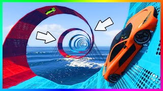 GTA 5 DLC HARDEST & INSANE NEW CUSTOM STUNT RACES w/ INFINITE SPIRAL CLIMB, MEGA WALLRIDES & MORE!