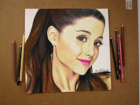 Tutorial Cómo dibujar un rostro con prismacolor ARIANA GRANDE How to draw a face