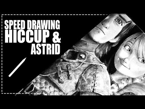 Desenhando Hiccup (Soluço) and Astrid from How to Train Your Dragon 2