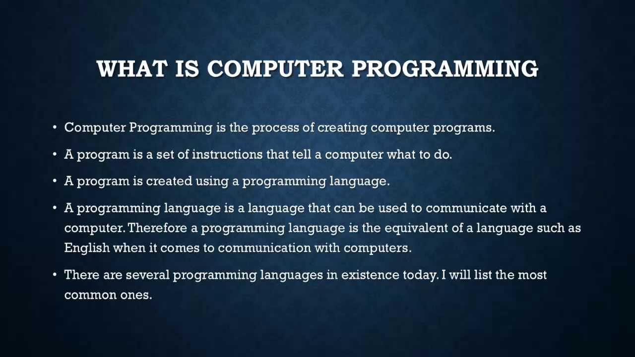 Computer Programming 1 Introduction To Computer
