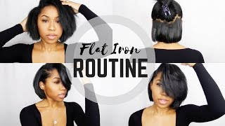 Flat Iron Routine | Short Bob