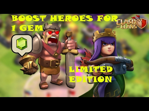 Boost Heroes with just One Gem(JUST 2 DAYS LEFT)|Clash Of Clans