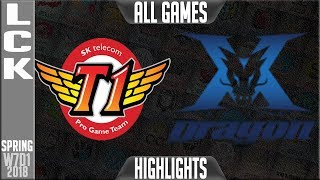 SKT vs KZ Highlights ALL GAMES | LCK Week 7 Spring 2018 W7D1 | SK Telecom T1 vs King-Zone DragonX