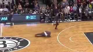 Nets coach falls down hard + Jared Dudley and Joel Embiid getting into it. 👀