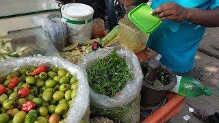 Pineapple Vorta, Boroi Vorta With Green Pepper Very Tasty Street Food in Dhaka, Bangladesh