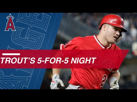 Trout goes 5-for-5 with HR, 3 doubles, 4 RBIs, 3 runs