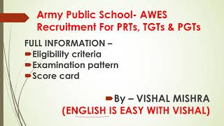 AWES 2018 PGT TGT PRT APS Exam TIPS Previous Year Solved Papers Best Books Army Public School