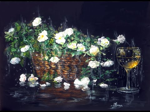 How I painted roses, drops and glass