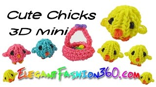 Rainbow Loom Cute Baby Chick 3D Charm Easter - How to loom bands