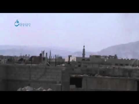 Q.News:Damascus:Recording the jet fighter while shelling airstrikes over Jobar neighborhood18-3-2015