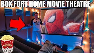 BOX FORT HOME MOVIE THEATRE!! 📦🍿 Popcorn Maker, Surround Sound & More!