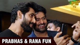 Prabhas and Rana interacting WITH world's first AR Poster of Nene Raju Nene Mantri