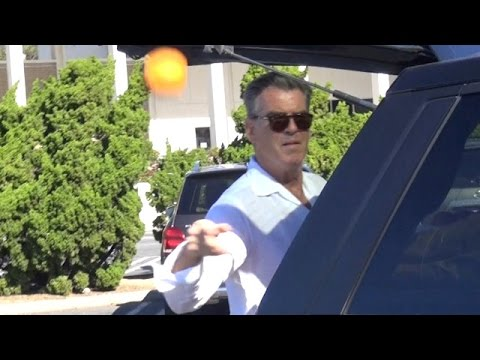 X17 EXCLUSIVE - Pierce Brosnan Throws Oranges At The Paps!