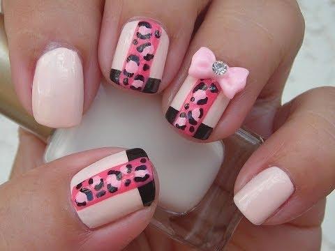 Nail Art - Facebook Challenge - Pink Leopard - Decoracion de uñas