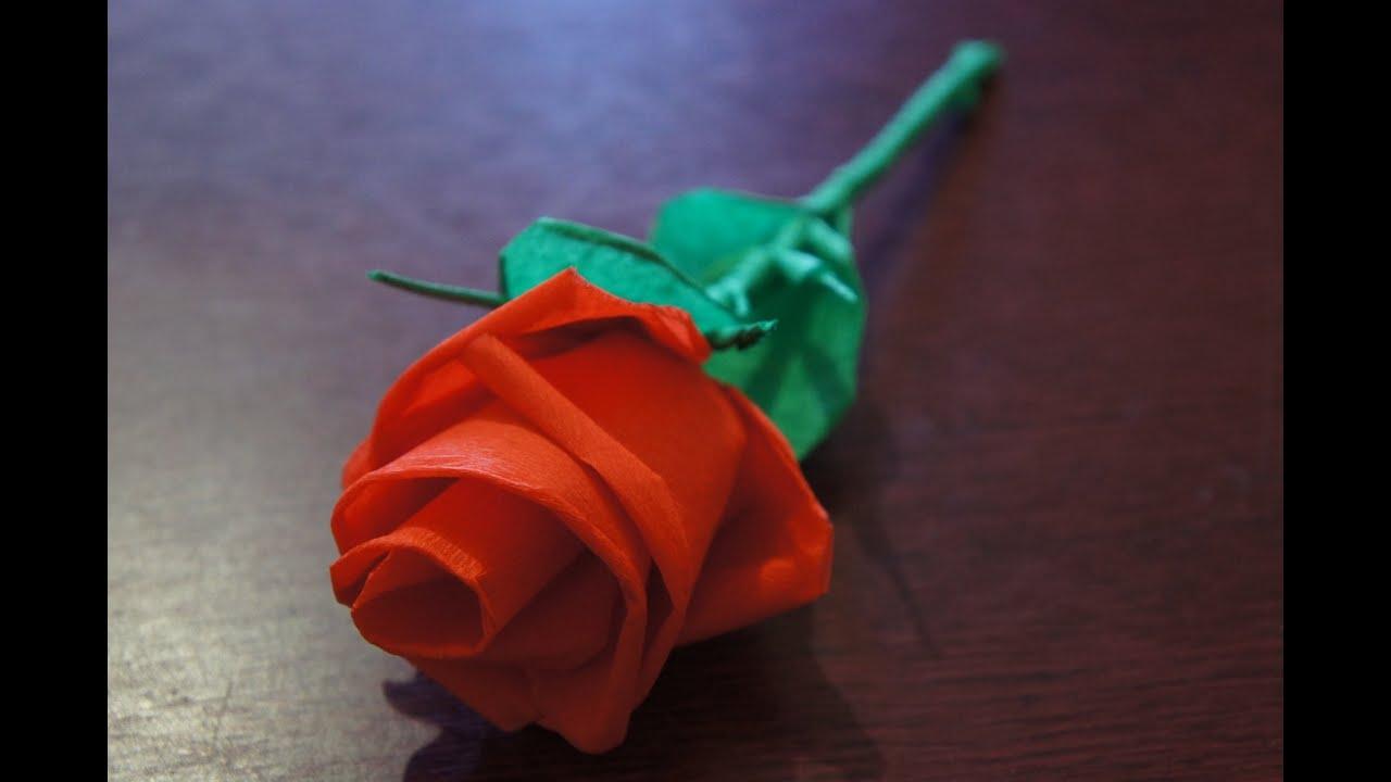 Делаем розу из бумаги своими руками 5