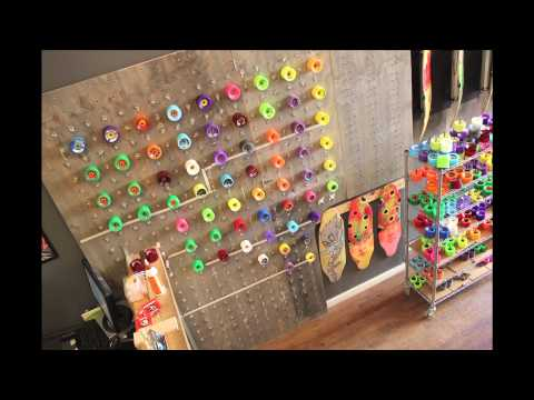 Building the Wall Of Wheels at Longboard Loft NYC by Bustin