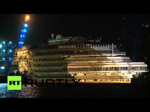 Video: Salvage of wrecked Costa Concordia cruise ship completed