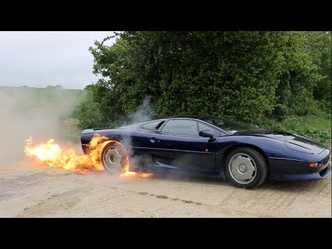 Flaming Jaguar Xj220 Burnout Youtube
