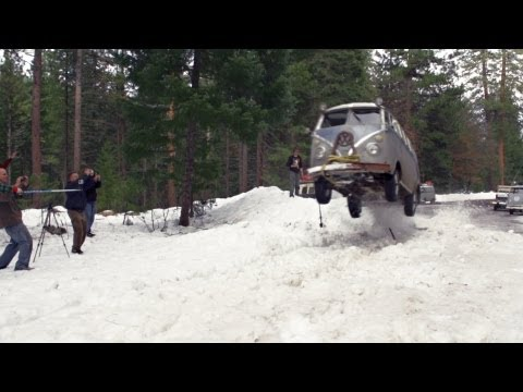 VW Bus Snow Jump - Lou Verrilli - Flying Pamper - Shasta Snow Trip 2013