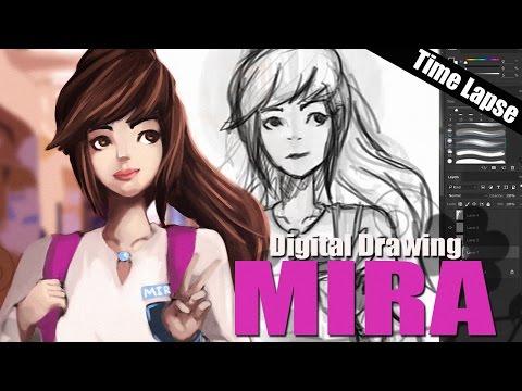 Digital Drawing Time Lapse | Mira (Malaysia School Uniform)