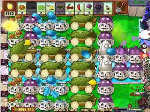 Plants vs Zombies Survival Endless 10000 plus flags - by Hardinero