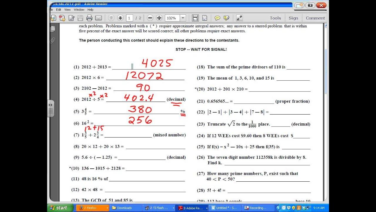 Uil number sense hs sac 2012 1 10 youtube