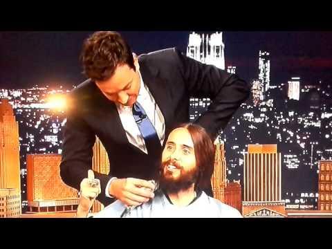 Jimmy Fallon shaving Jared Leto's bush