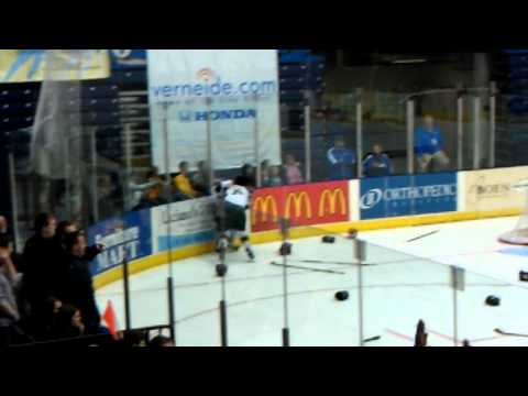 Amazing USHL Hockey Line Brawl Includes Goalies Fight HD