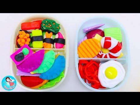คุณแม่ทำกับข้าว ปั้นแป้งโดว์ ของเล่นทำอาหาร เรียนรู้ชื่อผักผลไม้ Play Doh Food Kitchen