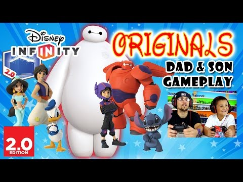 Dad & Son play Disney Infinity 2.0 ORIGINALS - BIG HERO 6: BAYMAX & HIRO, Donald Duck Stitch Aladdin