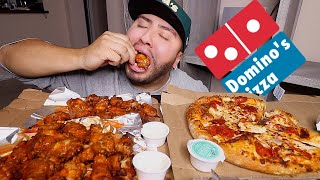 DOMINOS Pizza & Hot Wings MUKBANG