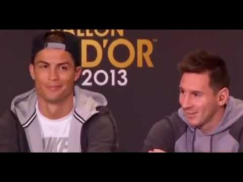 Funny Moment between Cristiano Ronaldo and Lionel Messi   Fifa Ballon d'Or Press Conference 2013