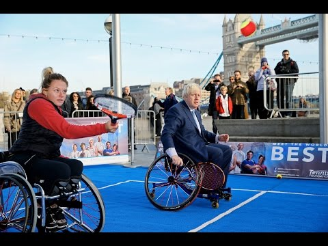 Mayor of London Boris Johnson tries out Wheelchair tennis