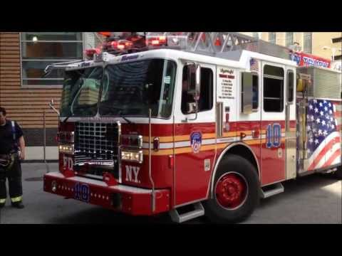 NEW FDNY LADDER 10, FDNY ENGINE 10, FDNY ENGINE 6, FDNY EMS PARAMEDICS TRUCK 963, BATTALION CHIEF 2