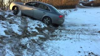 Audi A4 Quattro off road hill climb slowmotion