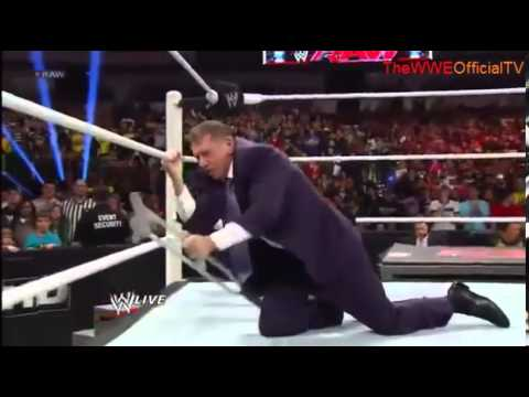 Triple h returns and saves Mrmahon from Brock Lesnar 2/25/13