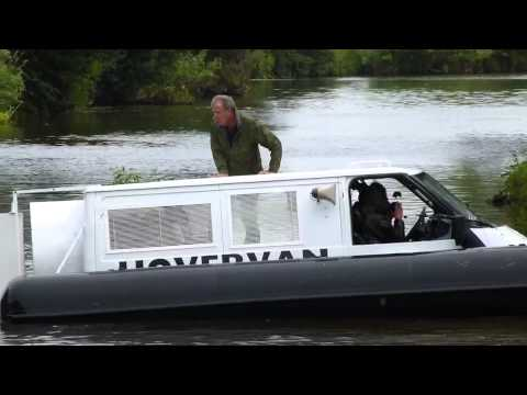 Footage of the Top Gear presenters crashing their hovervan