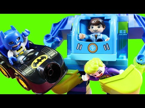 Lego Duplo Batman And Disney Junior Miles Use Exo-Flex Robot Suit To Knockdown Joker Hideout Wall