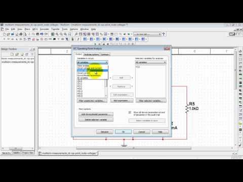NI Multisim: Find node voltages with DC Operating Point analysis