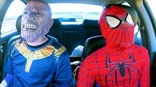 Superheroes Dancing in Car | Spiderman & Thanos | Funny Movie in Real Life