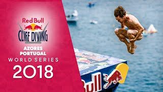 Diving from volcanic cliffs.   Red Bull Cliff Diving World Series 2018 LIVE Azores, Portugal