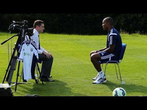 Andre Wisdom is interviewed after joining West Bromwich Albion on a season-long loan from Liverpool