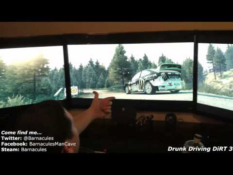 Drunk Driving Codemasters DiRT 3 with Racing Wheel. Huge Screens and Vodka