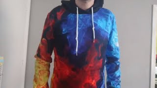 TUONROAD 3D unique Printed Fire Effect Hoodie