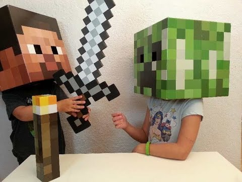 Minecraft - Creeper and Steve Head. Foam Sword. Torch Review!