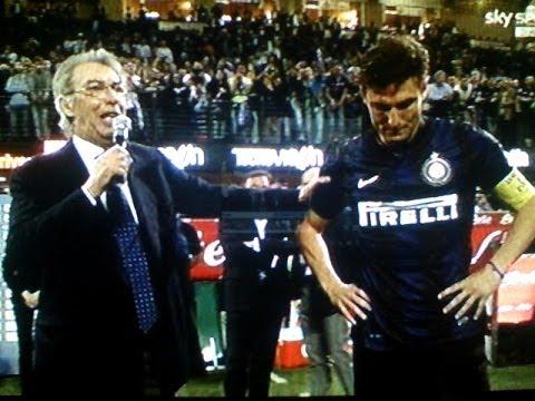 Zanetti, il saluto ai Tifosi dopo Inter Lazio 4 1 - Zanetti e Moratti Ciao Capitano