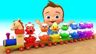 Colors for Children to Learn with Cartoon Animals Color Balls Wooden Train Toy Set for Kids Toddlers