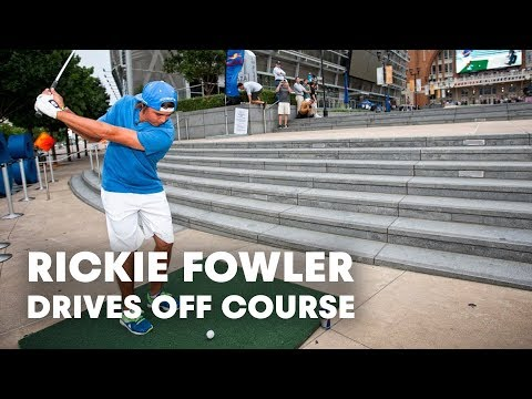 PGA TOUR star Rickie Fowler drives off course in Dallas.